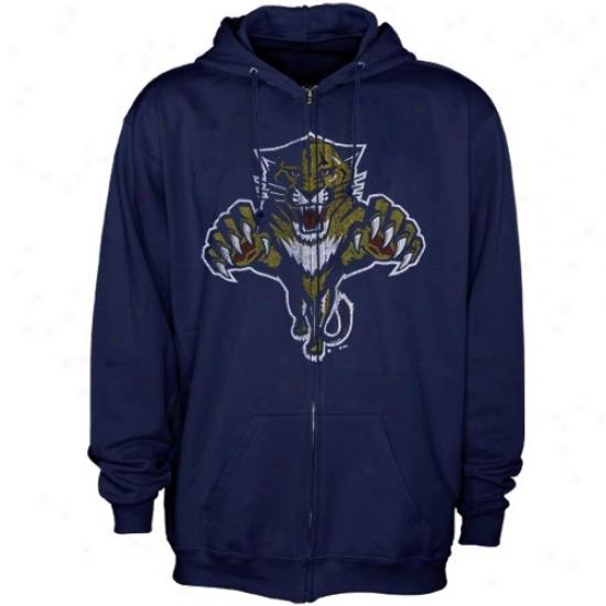 Florida Panthers Hoodie : Majestic Florida Panthers Navy Dismal Distressed Logo Full Zip Hoodie