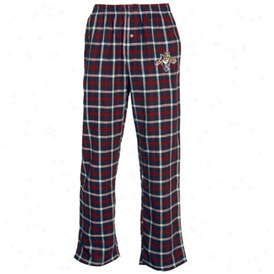 Florida Panthers Navy Blue Plaid Tailgate Flannel Pajama Pants