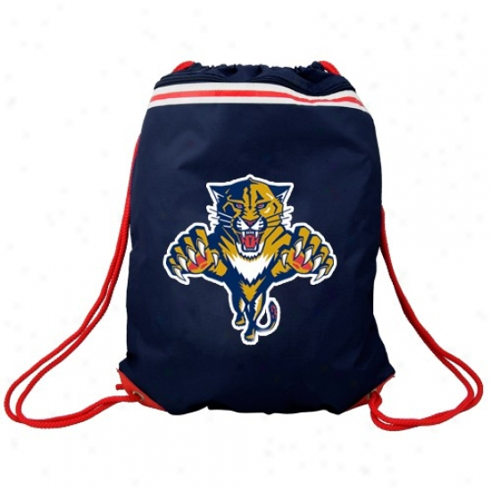 Florida Panthers Navy Blue Team Logo Drawstring Backpack