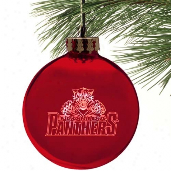 Florida Panthers Red Etched Laser Instruction Ornament