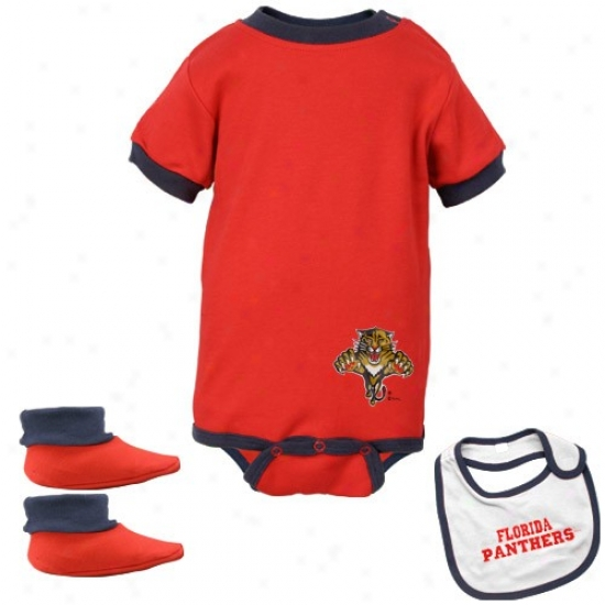 Florida Panthers Red Infant Hicoey Bib & Booties Set