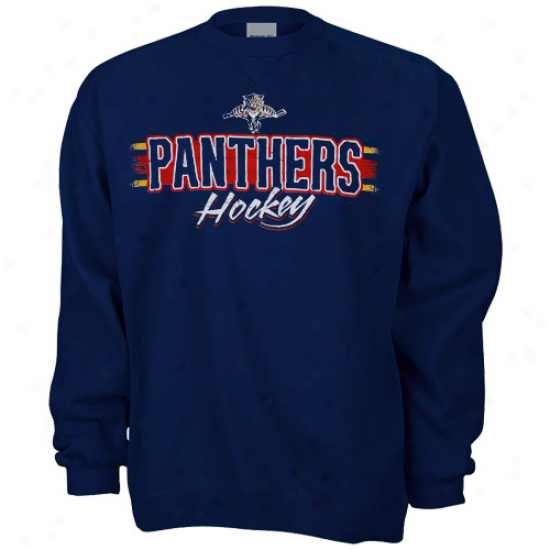 Florida Panthers Sweat Shirts : Reebok Florida Panthers Navy Blue Allegiance Sweat Shirts