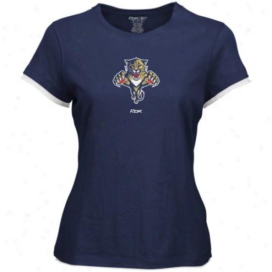 Florida Panthers T-shirt : Reebok Florida Panthers Ladies Black Logo Permier Too T-shirt