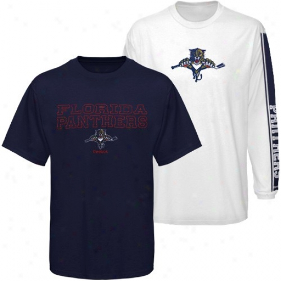 Florida Panthers Tees : Reebok Florida Panthers Navy Blue-white 3-in-1 Tees Combo Pack