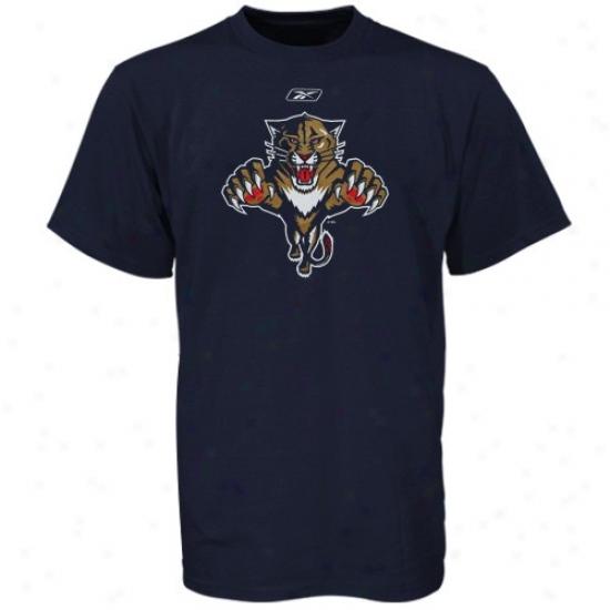 Florida Panthers Tees : Reebok Florida Panthers Youth Navy Blue Primary Logo Tees