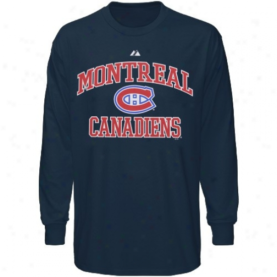 Habs Apparel: Majestic Habs Ships of war Blue Seat of life & Soul Long Sleeve T-shirt