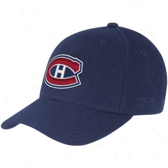 Habs Merchandise: Reebok Habs Navy Blu Basic Logo Adjustable Hat