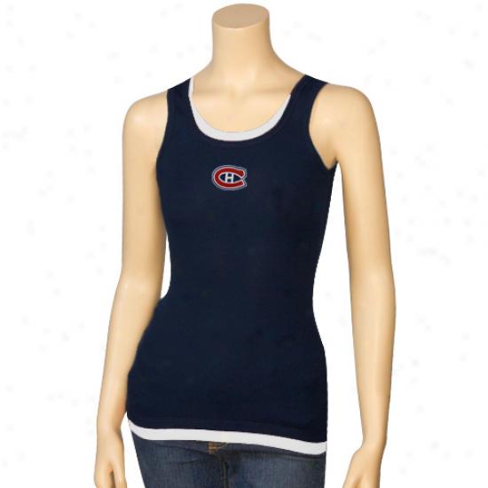 Habs Shirts : Habs Ladies Navy Blue Harmony Layered Tank Top