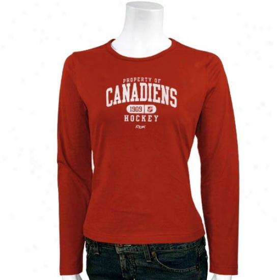 Habs Shirts : Reebok Habs Ladies Red Property Of Long Sleeve Shirts