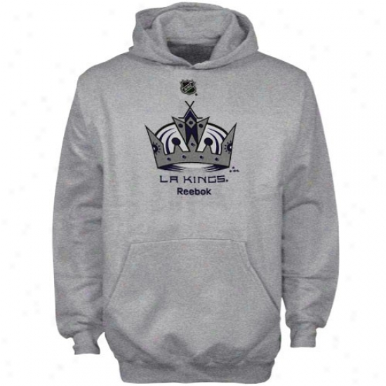 L A Kings Sweatshirts : Adidas L A Kings Ash Youth Primary Logo Sweatshirts