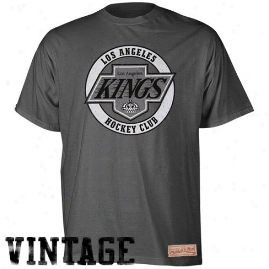 L A Kings T-shirt : Mitchell & Ness L A Kings Charcoal Throwback Logo Premium T-shirt