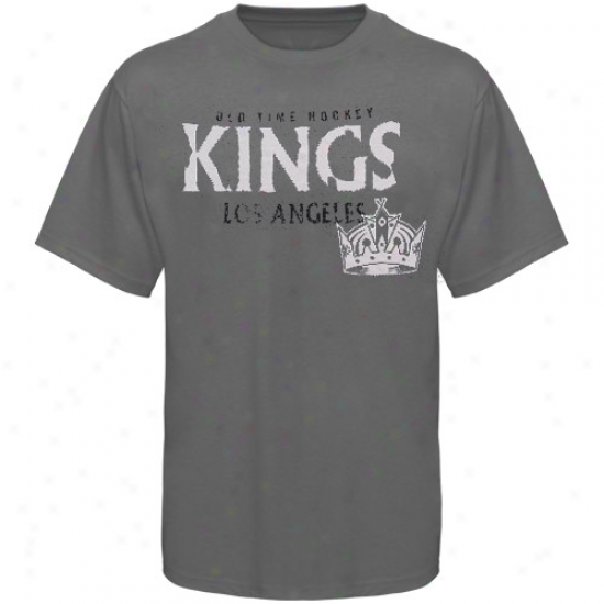 L A Kings Tshirt : Old Time Hocket L A Kings Charcoal St. Croix Tshirt