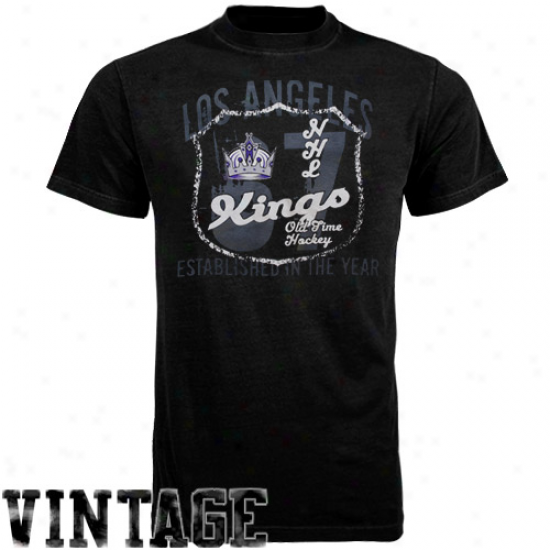 La King Tshirts : Old Time Hkckey La King Black Captain Tshirts
