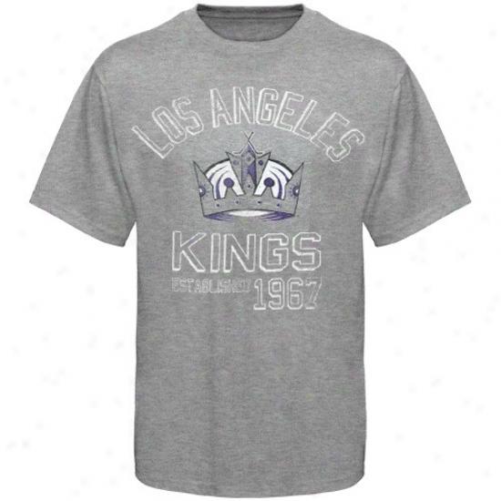 La Kings Apparel: Banner '47 La Kings Ash Baseline Vintage T-shirt