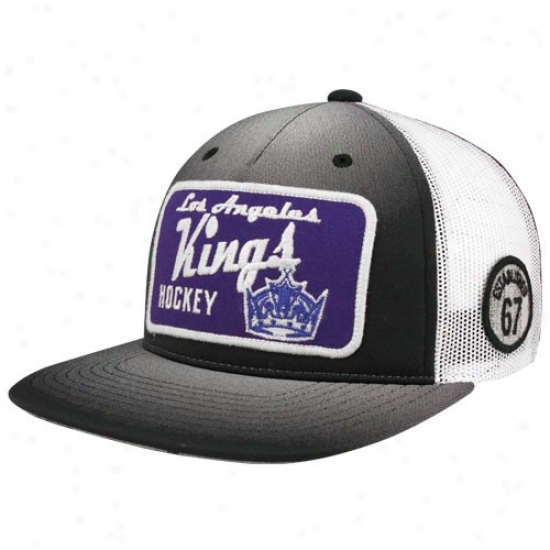 L.a. Kings Gear: Reebok L.a. Kinngs Black-natural-purple Adjustable Trucker Hat