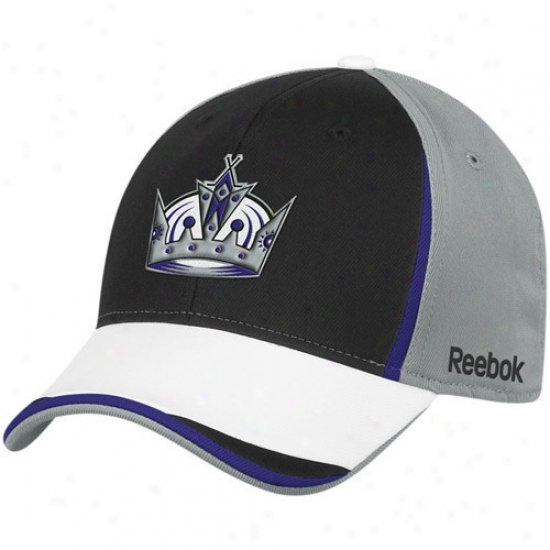 L.a. Kings Hats : Reebok L.a. Kings Gray-black Nhl 2010 Draft Day Flex Fit Hats