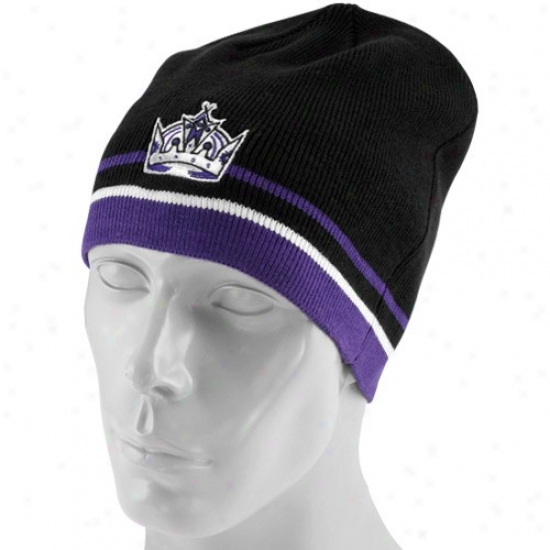 Los Angeles King Gear: Reebok Los Angeles Sovereign Black Face Off Winter Knit Beanie