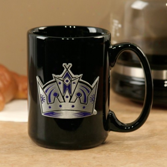 Los Angeles Kings Black 15oz. Pewter Logo Ceramic Mug