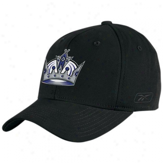 Los Angeles Kings Caps : Reebok Los Angeles Kings Black Basic Logo Flex Fit Caps