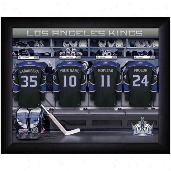 Los Angeles Kings Customized Locker Room Black Framed Photo