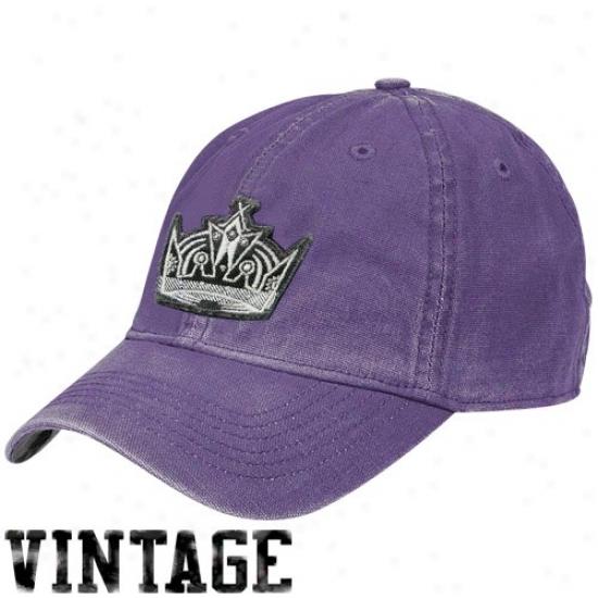Los Angeles Kings Merchandise: Reebok Los Angeles Kings Purple Distressed Logo Vintgae Slouch Hat