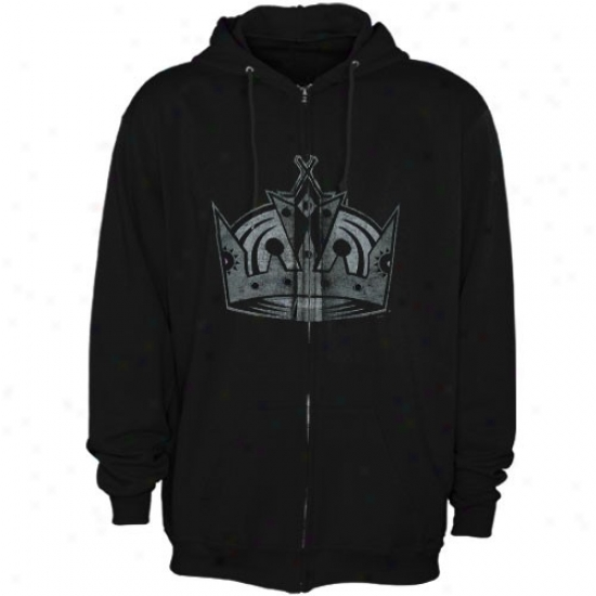 Los Angeles Kings Sweat Shirts : Splendid Los Angeles Kings Black Official Logo Full Zip Sweat Shirrts