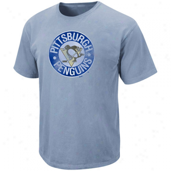 Majestic Pittsburgh Penguins Light Blue Slim Fit Logo T-shirt