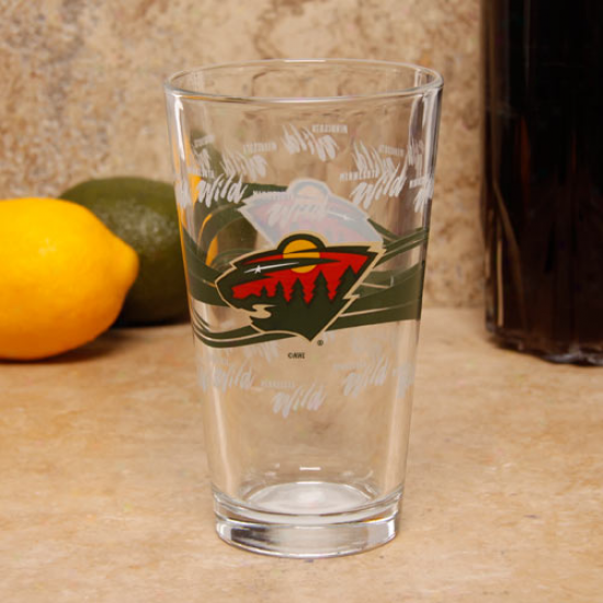 Minnesota Wild 16oz. Satin Etch Pint Glass
