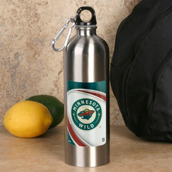 Minnesota Wild 750ml Stainless Steel Water Bottle W/ Carabiner Quantity sheared