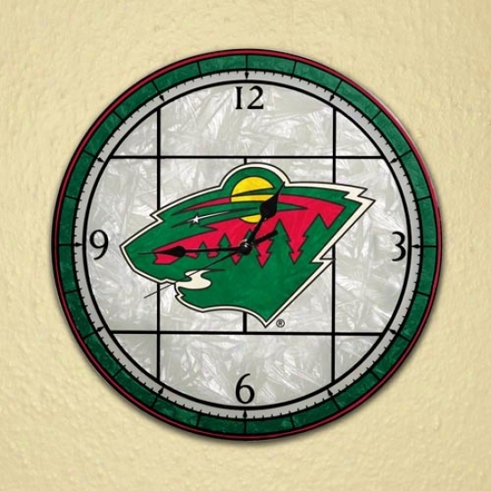 Minnesota Wild Art-glass Wall Clock