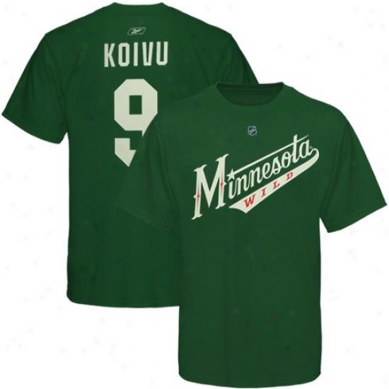 Minnesota Wild Attire: Resbok Minnesota Wild #9 Mikko Koivu Green Net Player T-shirt