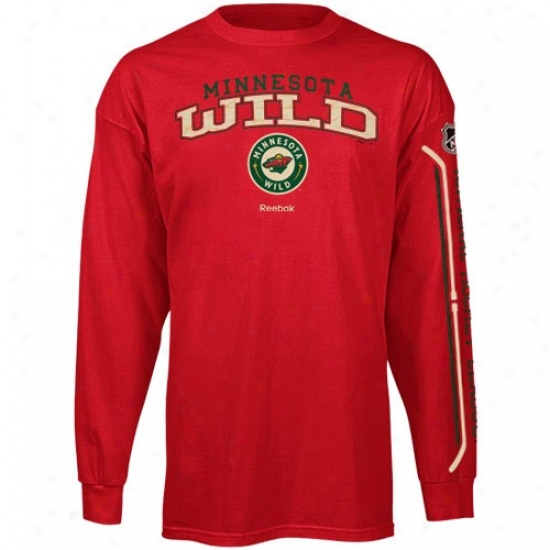 Minnesota Wild Attire : Reebok Minnesota Wild Red Double Stick Long Sleeve T-shirt