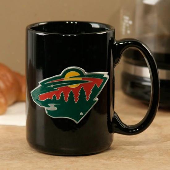 Minnesota Wild Black 15oz. Pewter Logo Ceramic Mug