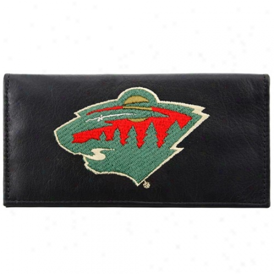 Minnesota Wild Black Leather Embroidered Checkbook Cover