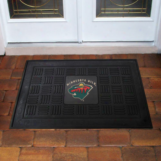Minnesota Wild Black Team Logo Rubber Mat