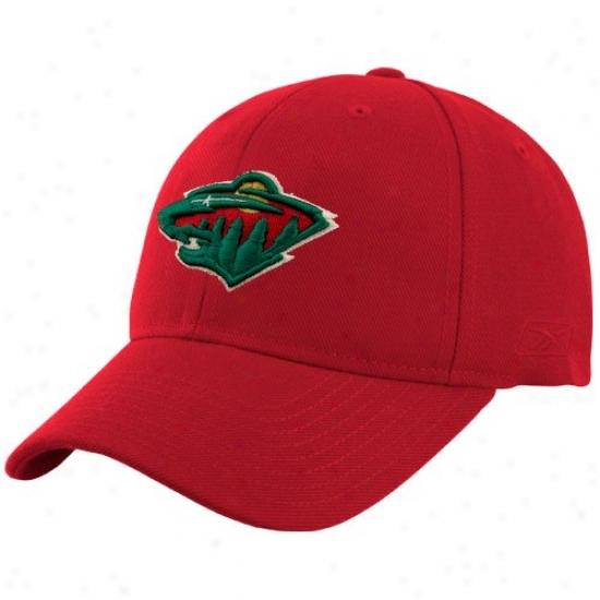 Minnesota Wild Caps : Reebok Minnesota Wild Red Basic Logo Wool Blend Adjustable Caps