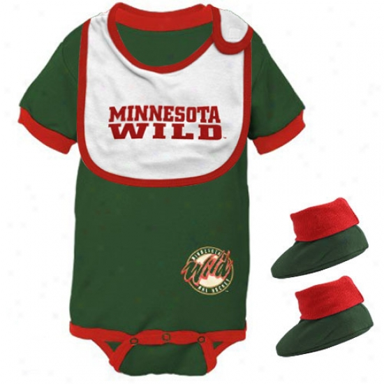Minnesota Wild Green Infant Hockey Bib & Booties Set