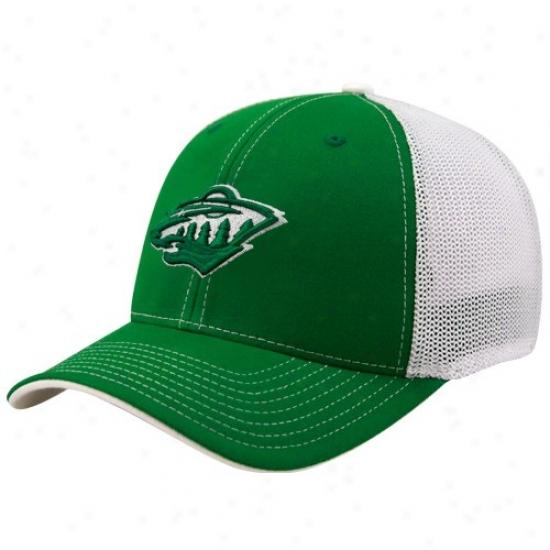 Minnesota Wild Hats : Reebok Minbesota Wild Kelly Green St. Patrick's Day Structured Mesh Back Flex Fit Hats