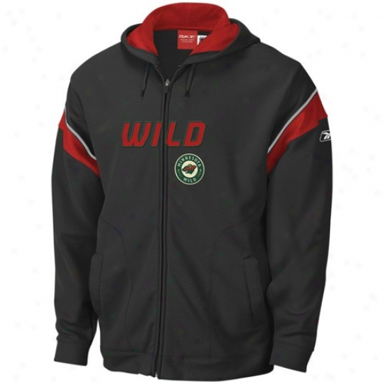 Minnesota Wild Hoodie : Reebok Minnesota Wild Black Top Shelf Entire extent Zip Hoodie