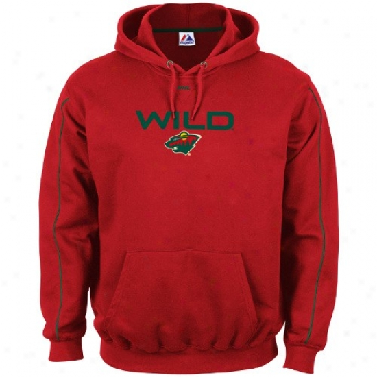 Minnesota Wild Hoodies : Majestic Minnesota Uncivilized Red First-rate Team Logo Hoodies