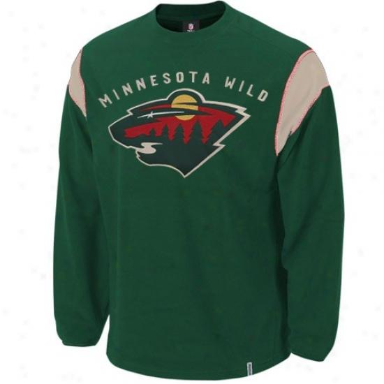 Minnesota Wild Hoodies : Reebok Minnesota Wild Green Protector Crew Hoodeis