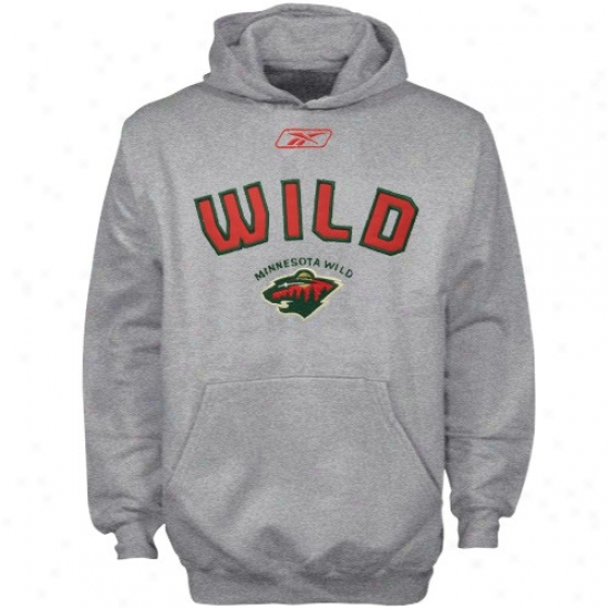 Minnesota Wild Hoody : Reebok Minnesota Wild Young men Ash Playbook Hoody