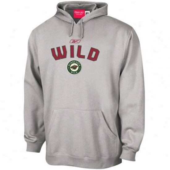 Minnesota Wild Hoodys : Reebok Minnesota Wilr Ash Playbook Hoodys