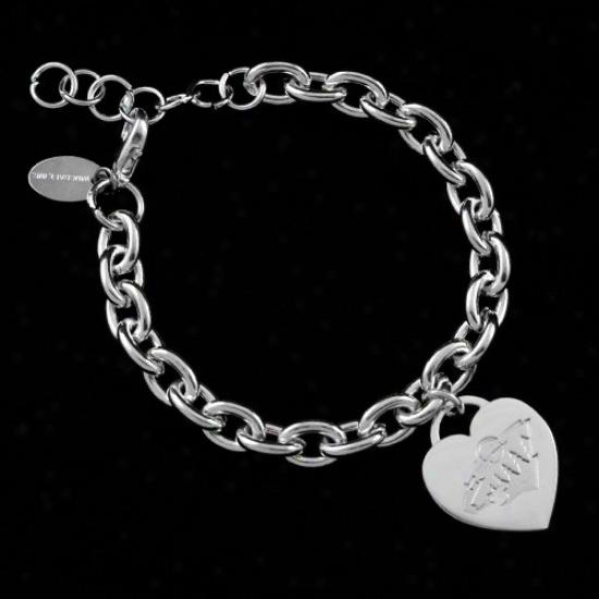 Minnesota Wild Ladies Silver Heart Charm Bracelet