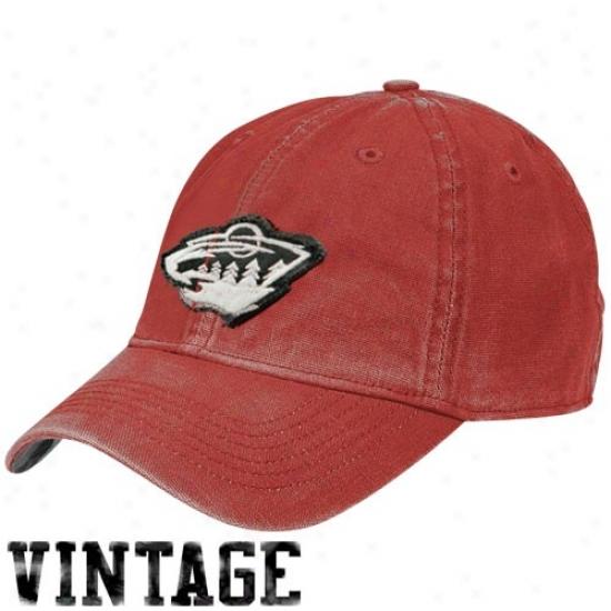 Minnesota Wild Merchandisee: Reebok Minnesota Wild Red Distressed Logo Vinyage Lubber Hat