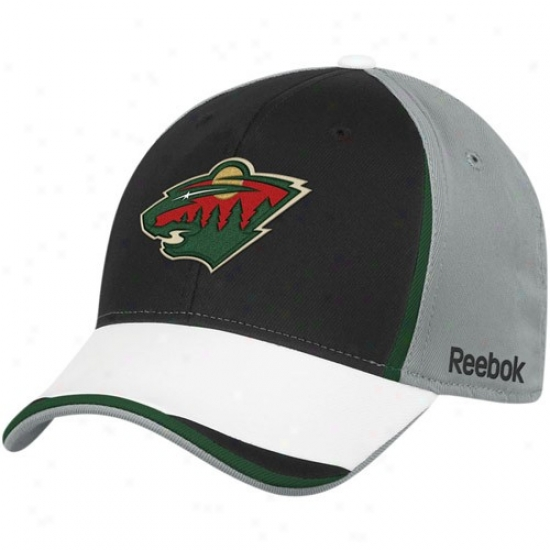 Minnesota Impetuous Merchandise: Reebok Minnesota Wild Gray-black Nhl 2010 Draft Day Flex Fit Hat