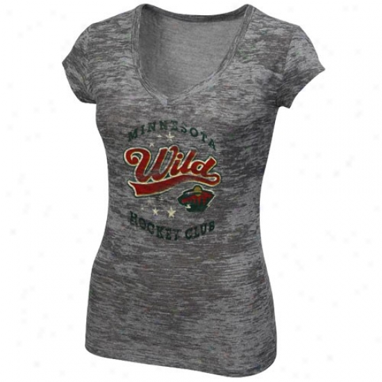 Minnesota Wild Shirt : Majestic Minnesota Wild Ladies Gray-haired Appeal Play Tri-blend Slub V-neck Shirt