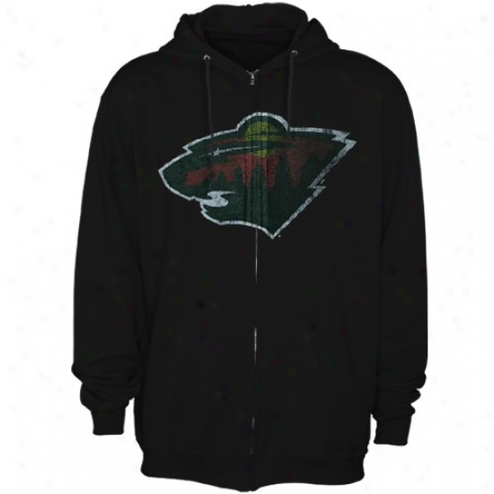 Minnesota Wild Sweatshirt : Majestic Minnesota Wild Black Official Logo Full Zip Sweatshirt