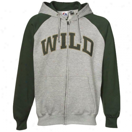 Minnesota Wild Sweatshirts : Majestic Minnesota Impetuous Ash-greenn With a ~ Marksman Full Zip Sweatshirts
