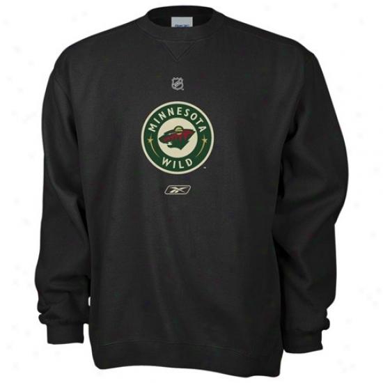 Minnesota Wild Sweatshirts : Reebok Minnesota Wild Black Primary Logo Crew Sweatshirts